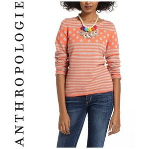 ANTHRO Coral & Gray Striped Polka-Dot Sweater